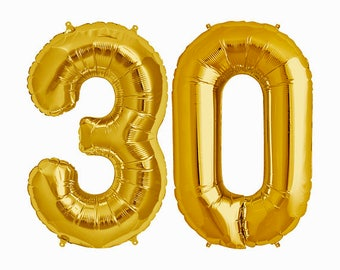 Number 30 Balloons, 30th Birthday Balloons, 30th Birthday, 30th Bday, Happy 30th, 30 Balloon, 30th Celebration, Gold 30, 30 Years