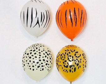 Animal Print Latex, Safari Party Balloons, Jungle Party Balloons, Zebra Party Balloons, Cheetah Party Balloons, Leopard Party Balloons,