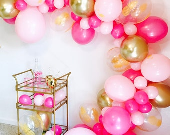 Flamingo Balloon, Balloon Garland, Flamingo Pineapple Theme, Tropical Bachelorette, Hot Pink and Gold, Pineapple Balloons, Lets Flamingle