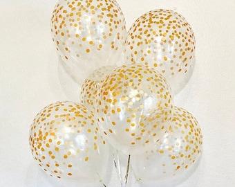 Confetti Look Balloons, Gold Polka Dot Balloon, Clear and Gold Confetti Look Balloon, Gold Birthday Balloon Gold Confetti, Gold Polka Dot