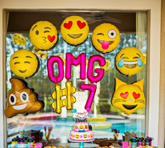Emoji Party Balloons OMG Decorations
