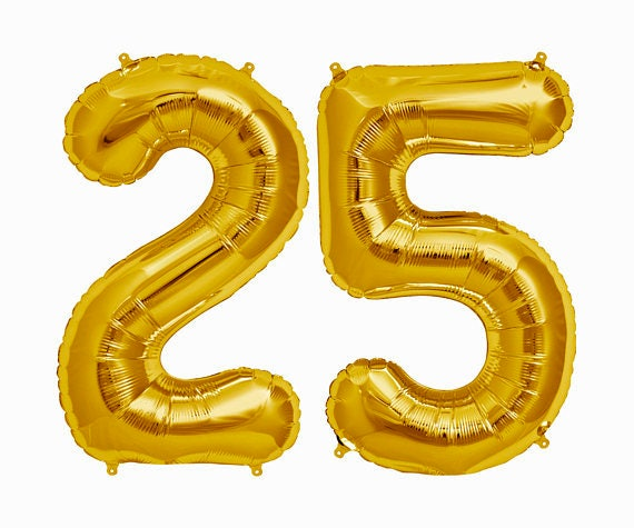 GOLD 25 Balloon Gold 25th Birthday Number Balloons Years Bday