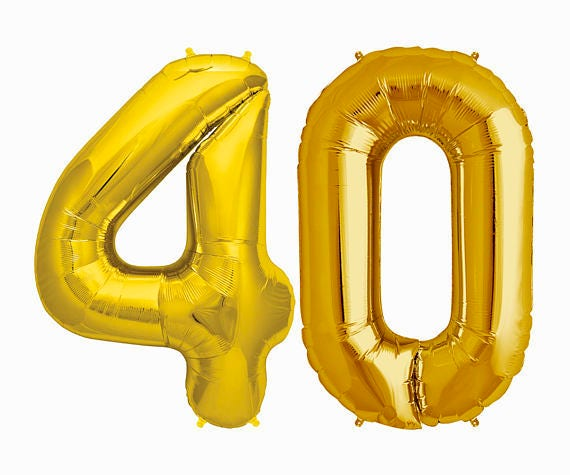 GOLD Number 40 Balloon 40th Birthday Photo Prop
