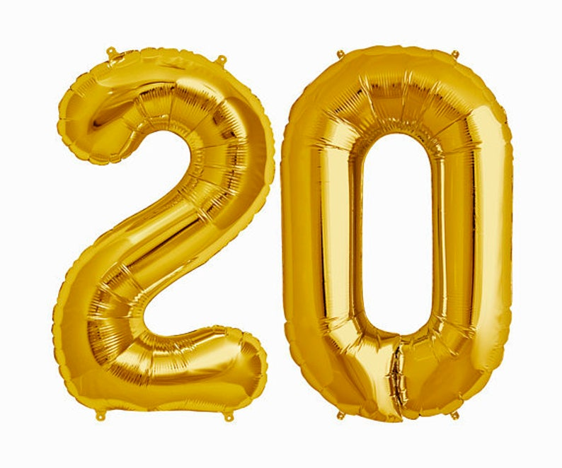 GOLD 20 Balloon Gold 20th Birthday Photo Prop Number