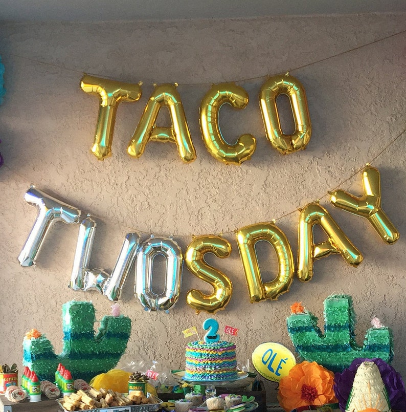 TACO TWOsday Balloons 2nd Birthday Party 2 Year Old Taco Bout It A Tacos Tuesday