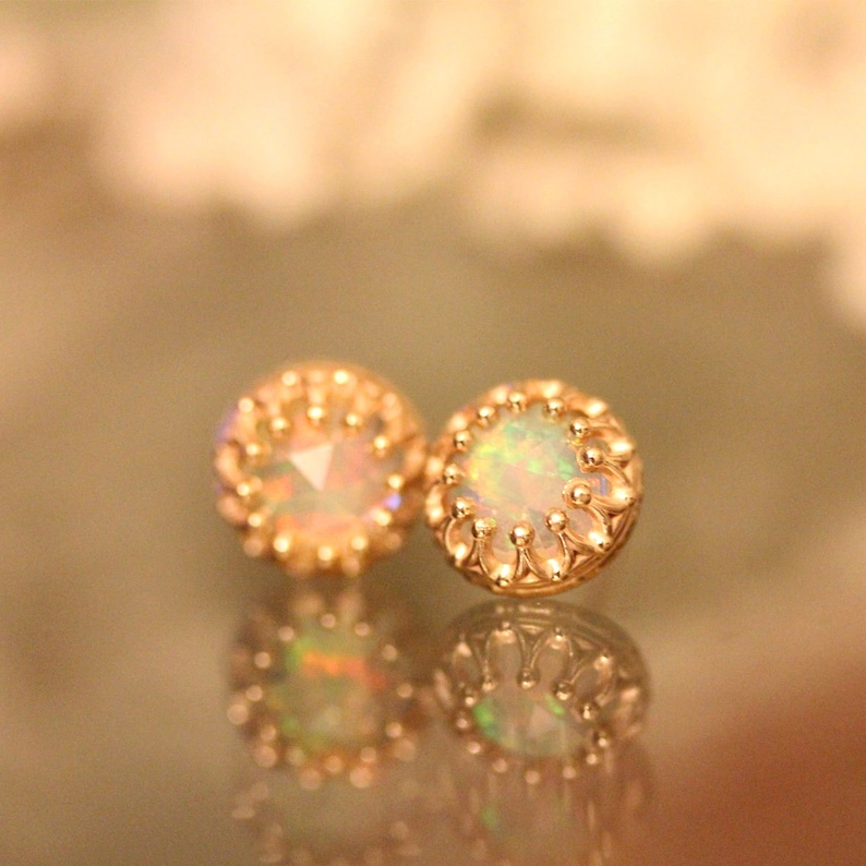 89298693419c0 Rose Cut Opal In 14K Gold Ear Studs, Earrings, Crown Setting Earrings,  Recycled Gold, Eco Friendly Gold - Custom Made For You
