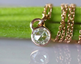 Summer Sale - 5.5mm Rose Cut Moissanite 14K Rose Gold Necklace, Pendant (Limited Edition), Recycled Gold Pendant, Moissanite Pendant - Custo