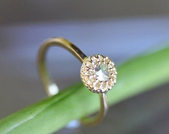 Summer Sale - Rose Cut Moissanite 14K Gold Engagement Ring, Stacking Ring (Limited Edition), Recycled Gold Ring -  Custom Made For You
