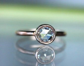 Summer Sale - Rose Cut Moissanite 14K Yellow Gold Engagement Ring, Stacking Ring (Limited Edition), Recycled Gold Ring - Custom Made For You