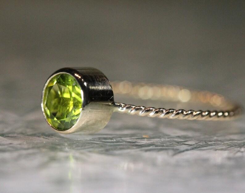 Custom Made For You Stacking Ring Recycled Gold Ring Gemstone Ring Peridot 14K Gold Ring