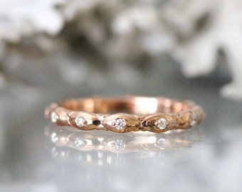 Summer Sale - Gold Leaves Diamond Eternity Ring, 14K Rose Gold Ring, Wedding Band, Stacking Ring, Engagement Ring, Eco Friendly - Custom Mad