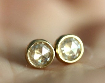 Summer Sale - Rose Cut Moissanite 14K Gold Ear Studs (Limited Edition), Recycled Gold Earrings, Gold Earrings - Custom Made For You
