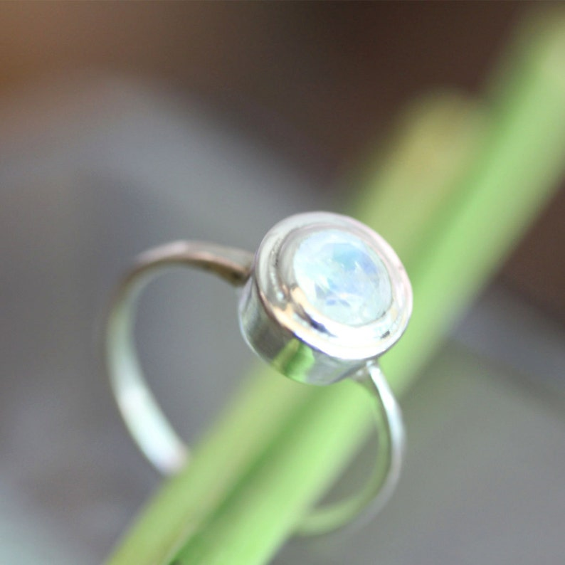 Gemstone Ring Rainbow Moonstone Sterling Silver Ring Argentium Silver Ring In No Nickel  Nickel Free Halo Ring Custom Made For You