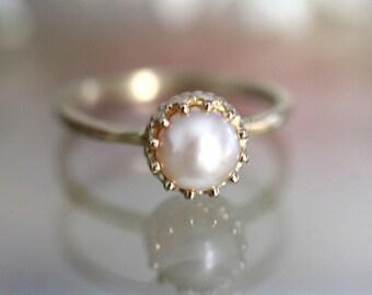 White Akoya Pearl 14K Gold Ring, Stacking Ring, Gemstone Ring, Engagement Ring, June Birthstone, Crown Setting - Custom Made For You