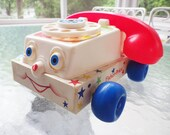 Vintage Fisher Price 1980's Chatter Telephone Pull Toy