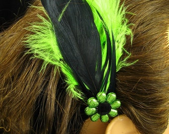 Lime Green and Black Feather Hair Clip