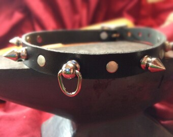 Spiked Collar with Small Knocker-type Ring