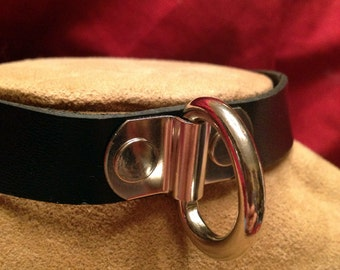 Leather Collar with Hefty D Ring
