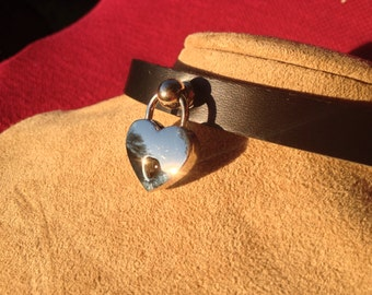 Leather Collar with Heart Lock
