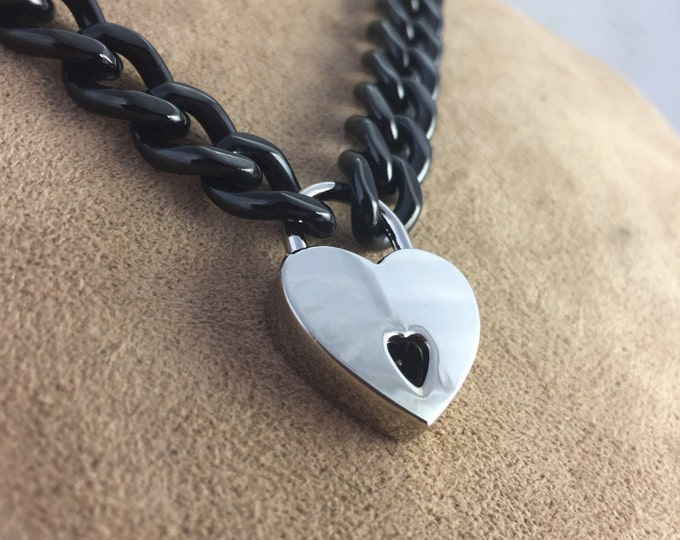 Black Stainless Steel Chain Choker with Heart Padlock