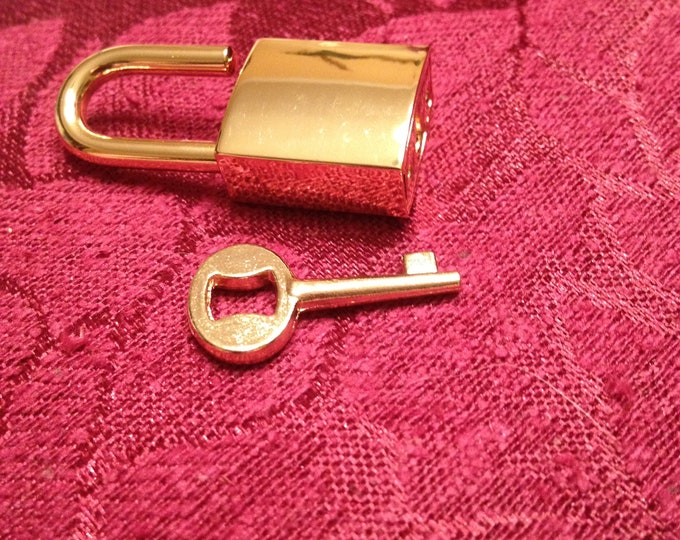 Small Gold Colored Square  Working Padlock