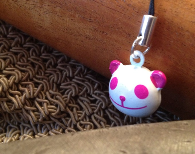 Cute Pink Panda Bell Charm for Cell Phone, Zipper or Keychain