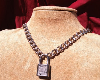 Chain Choker with Small Graphite Colored Light-Weight Padlock