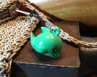 Cute Blue Whale or Dolphin Bell Charm for Cell Phone, Zipper or Keychain