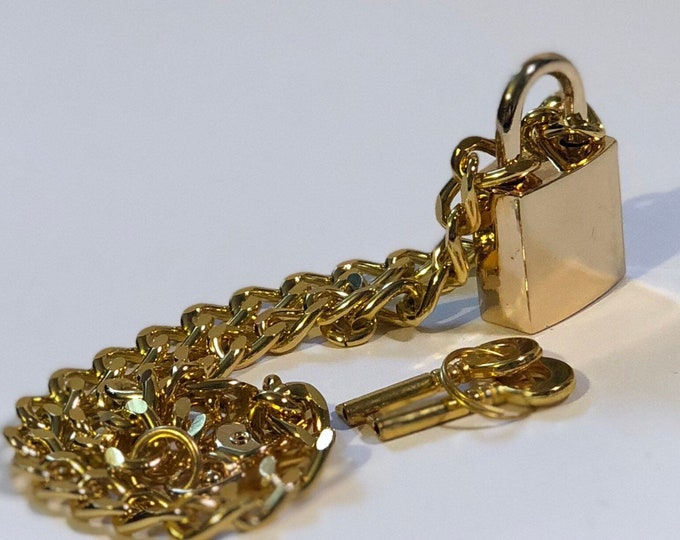 Gold Colored Padlock Necklace - Chain Necklace with Large Gold Colored Lock