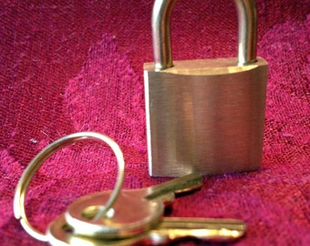 Solid Brushed Brass Working Padlock