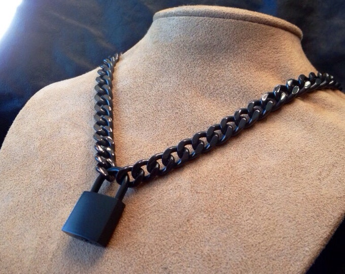 Black Chain Necklace or Choker with Black Padlock
