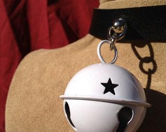 Medium White  Bell on Black Leather Choker