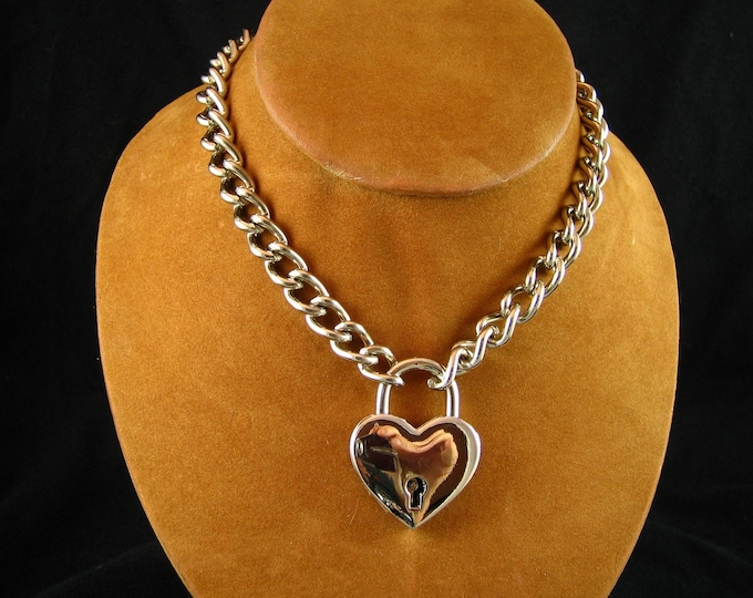 Stainless Chain Choker with Large Heart Padlock