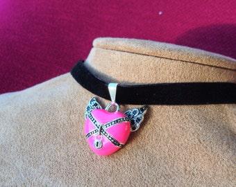 Pink Heart in Chains on Black Velvet Choker
