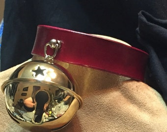Huge Gold Colored Bell Collar on Red Leather Band