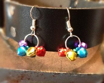 Mini Rainbow Bell Dangle Earrings