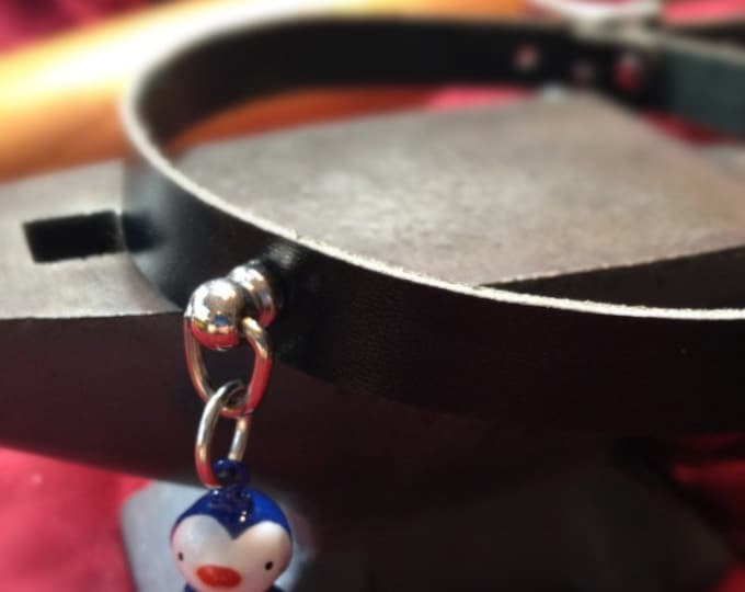 Cute Penguin  Bell on Black Leather Choker