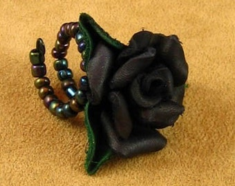 Black Leather Rose Ring
