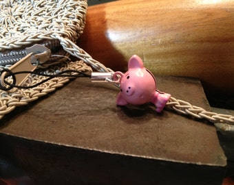 Cute Pig Bell Charm for Cell Phone, Zipper or Keychain