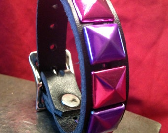 Pink and Purple Studded Leather Cuff