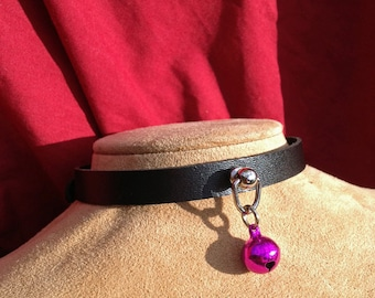 Tiny Fuchsia Hot Pink Bell on Black Leather Choker