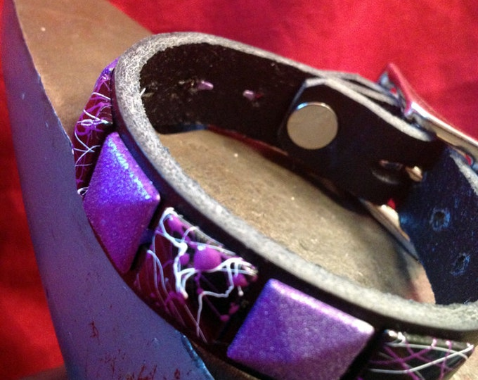 Purple Studded Leather Cuff