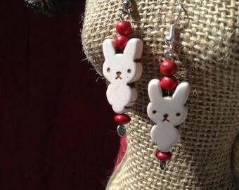 White Howlite Bunny Earrings