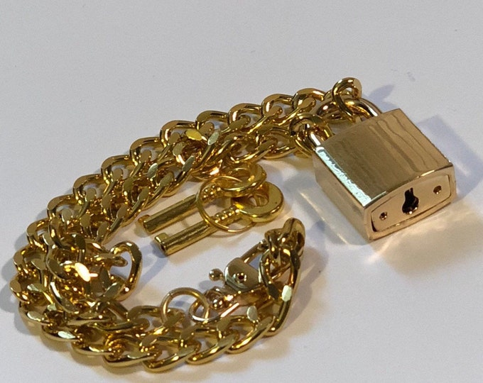 Stainless Steel Chain Necklace with Large Gold Colored Lock