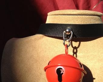 Medium Red  Bell on Black Leather Choker