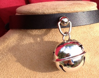 Small Shiny 1.5 inch Silver  Bell on Black Leather Choker