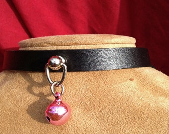 Tiny Light Pink Bell on Black Leather Choker