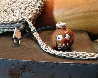 Cute Confused Owl Bell Charm for Cell Phone, Zipper or Keychain