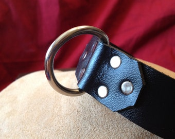 """Large 1"""" Leather Collar with Stainless Steel D Ring"""