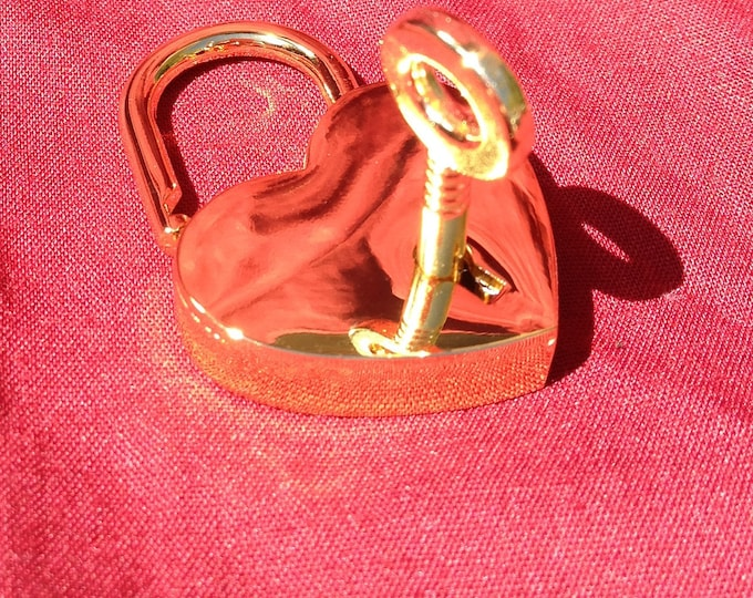 Large Heart shaped Gold colored  Working Padlock